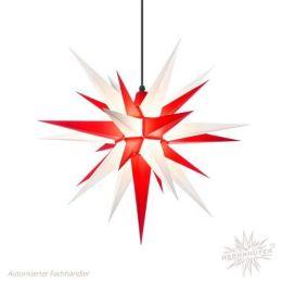 Original Herrnhuter Stern A7 aus Kunststoff für die Außen- und Innenverwendung, weiß und rot